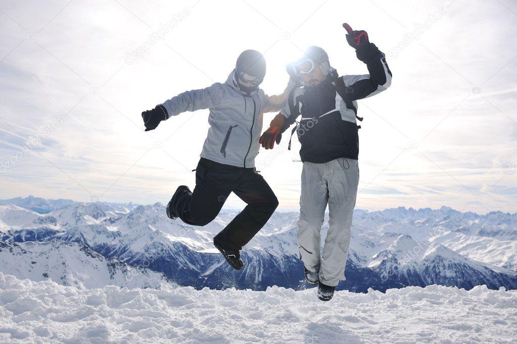 group on snow at winter season