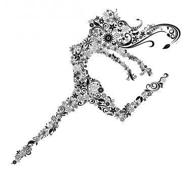 Vector illustration of woman in jump. Flower design. Summer or spring theme. clip art vector