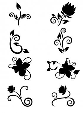 Set of floral element for design
