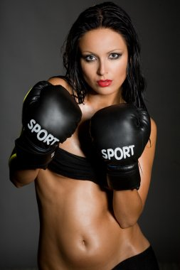 Sexy woman boxing