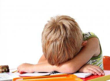Tired school boy