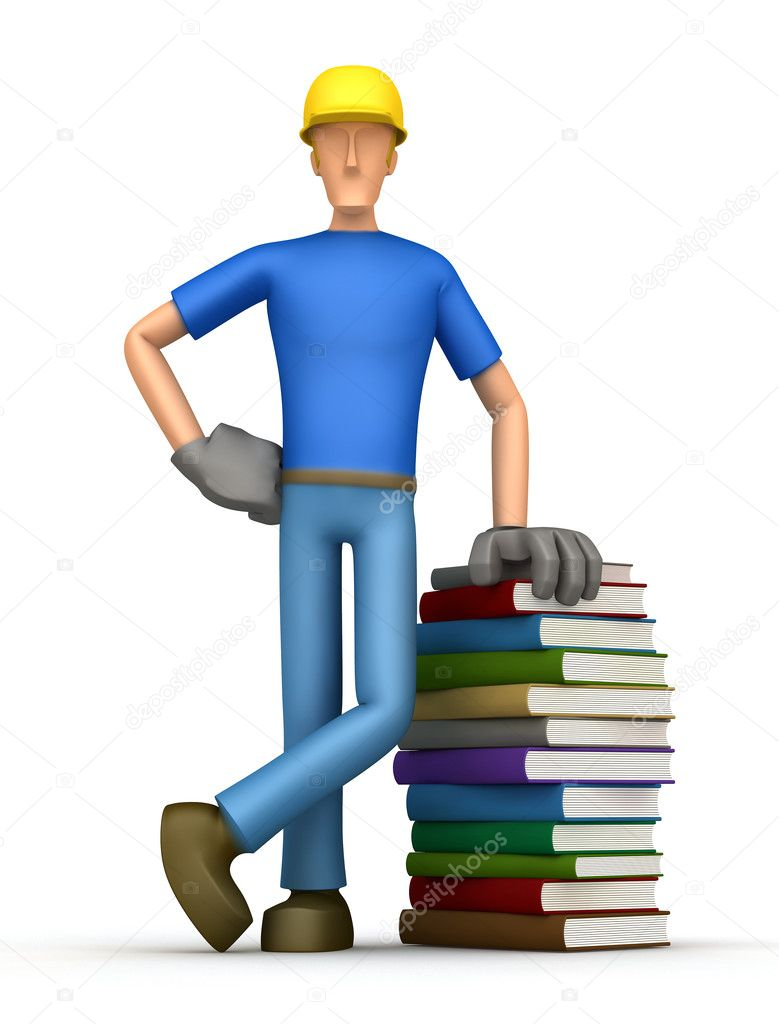 Builder with a stack of books