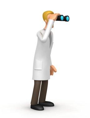 Doctor looking through binoculars