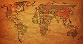 Old paper map of chad on world map