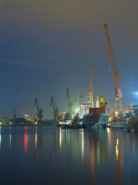 Shipyard of Gdansk at night