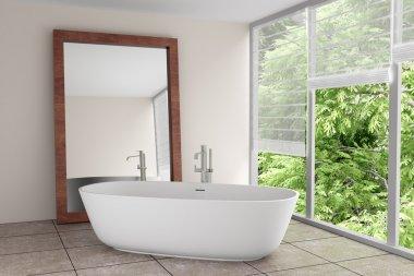 Modern bathroom with large mirror