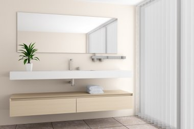 Modern bathroom with beige wall