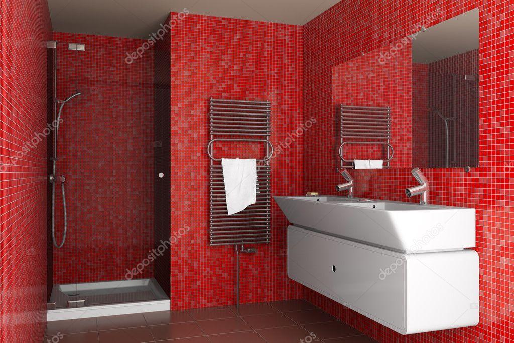 Salle de bains moderne avec des tuiles de mosaïque rouge ...