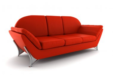 Red leather sofa isolated on white