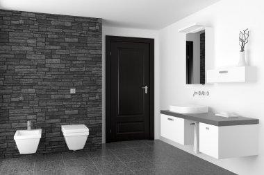 Modern bathroom with black stone wall