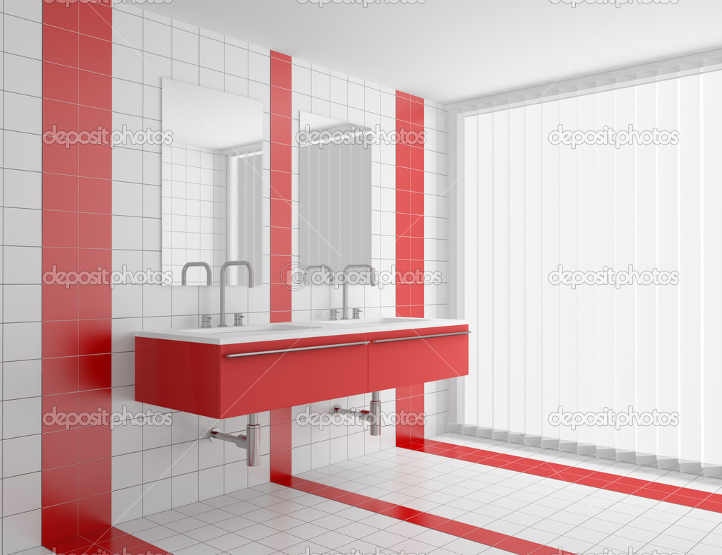 Modern bathroom with red and white tiles — Stock Photo © tiler84 ...