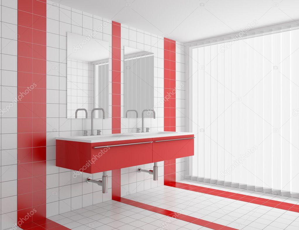 modernes bad mit roten und weißen fliesen — stockfoto © tiler84, Hause ideen