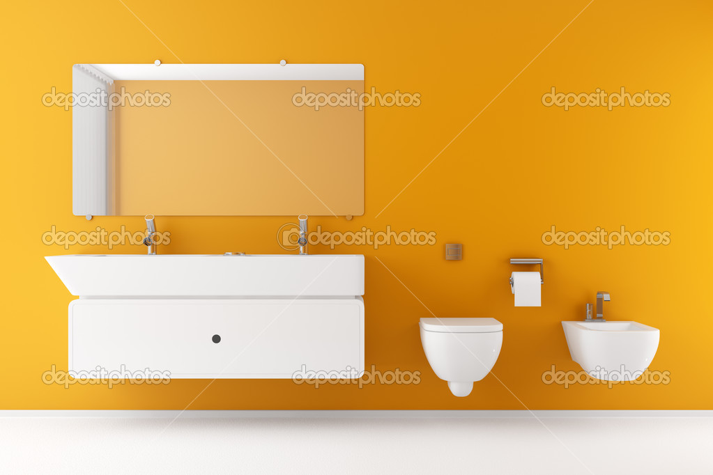 salle de bains moderne avec mur orange et blanc matériel ...