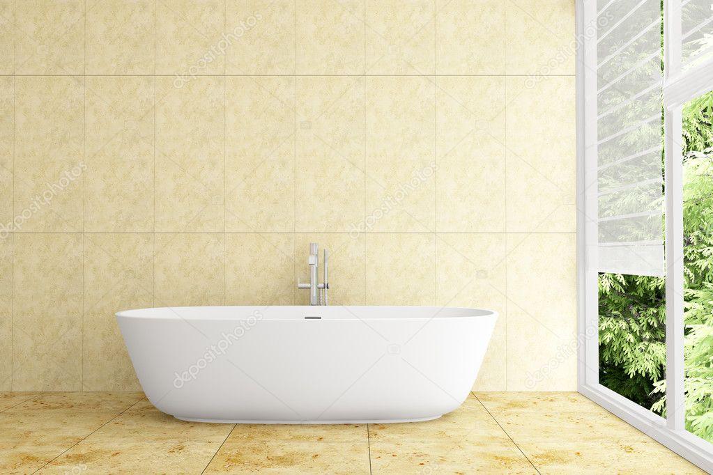 Modernes Bad Mit Beige Fliesen An Wand Und Boden U2014 Stockfoto