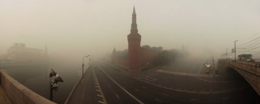 Smog in Moscow, Russia. Panorama of Kremlin. Moscow-River and Bridge.