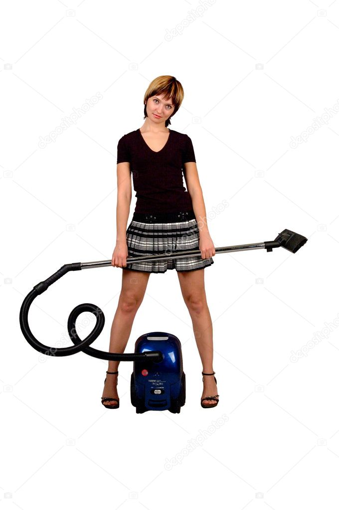 Girl with a vacuum cleaner