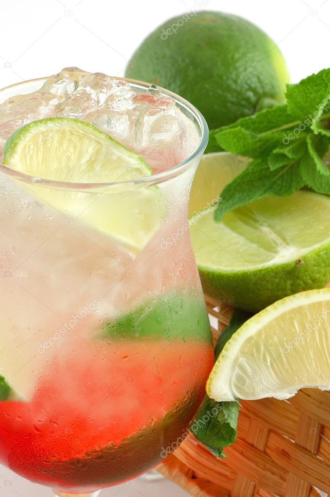 Cocktail with a lime and mint
