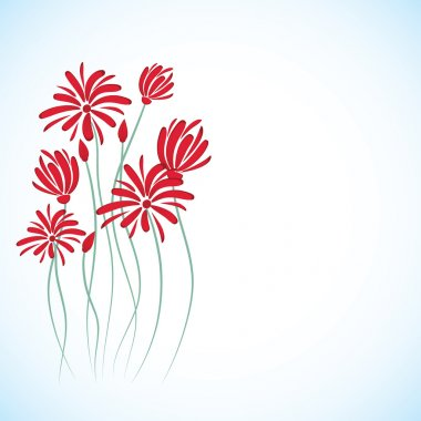 Abstract background with red flowers.