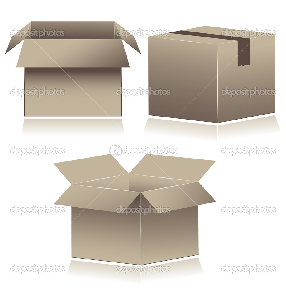 Brown Cardboard Shipping Boxes. vector illustration