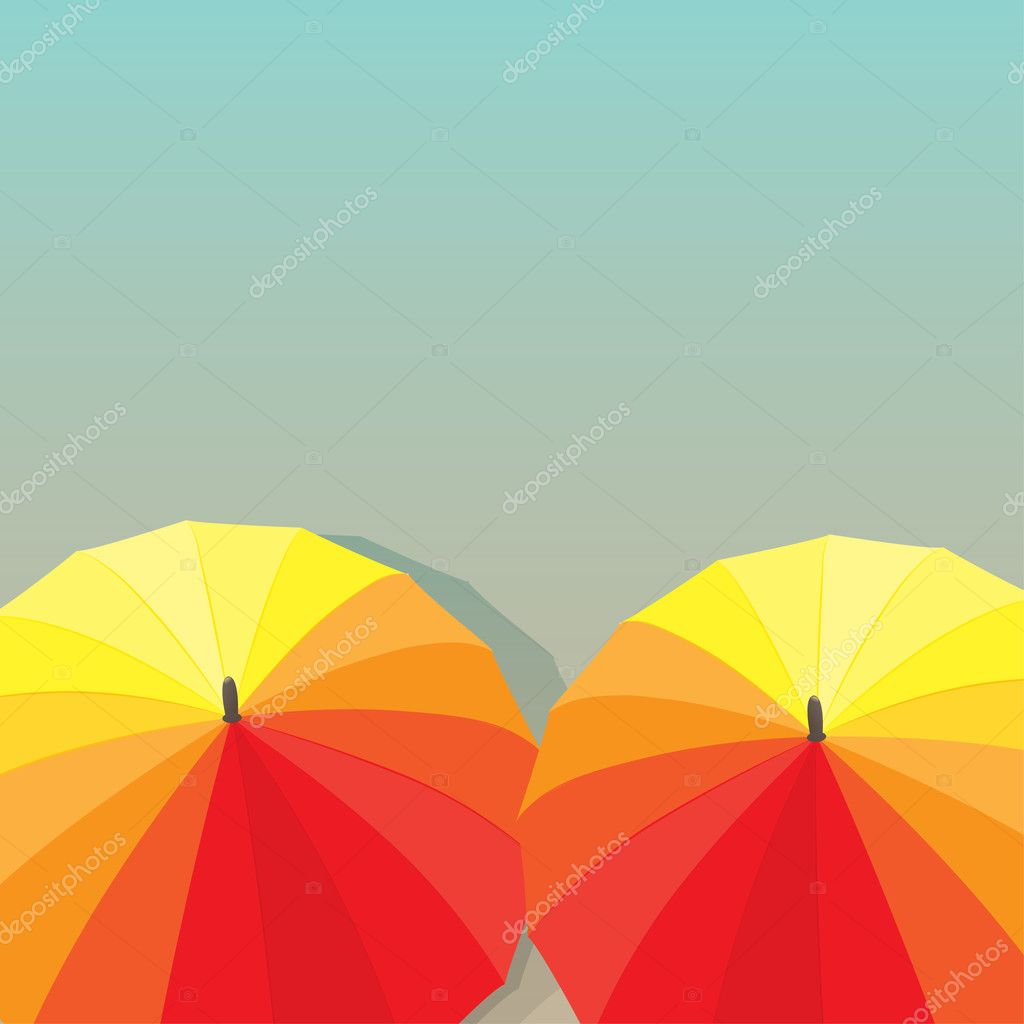 Colored autumn Umbrellas. Vector illustration