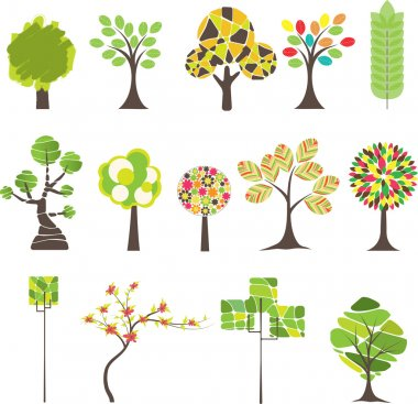 Set of Colorful tree. Vector illustration