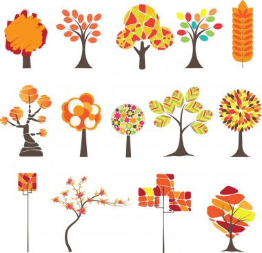 Set of Colorful Autumn trees. Vector illustration