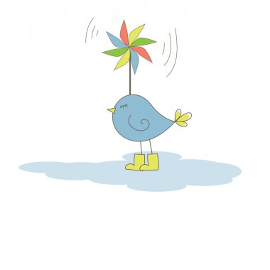 Bird with colorful windmill . Vector illustration