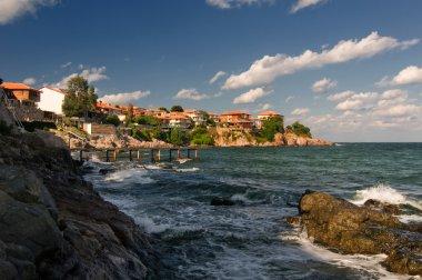 Sozopol coastline at Black Sea in Bulgaria stock vector