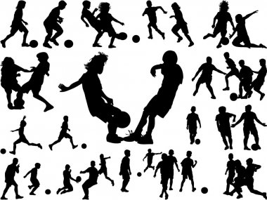 Kids silhouette playing football