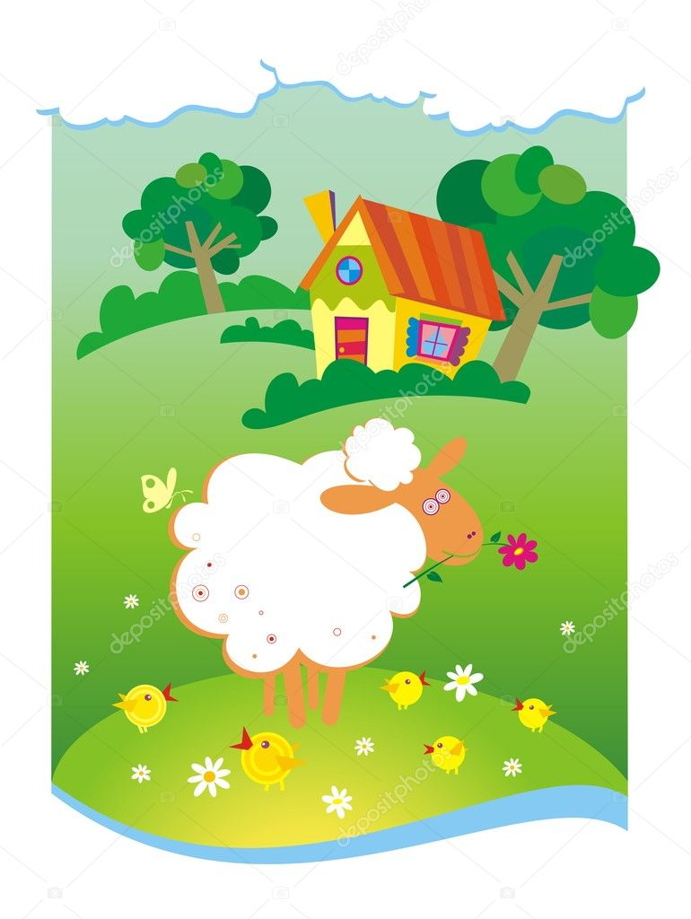 Summer background with small house and sheep