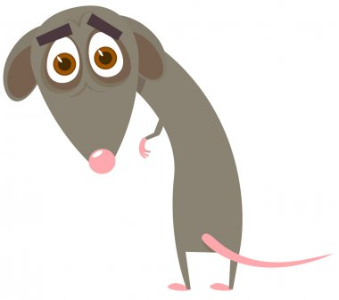 The timid mouse. A vector illustration