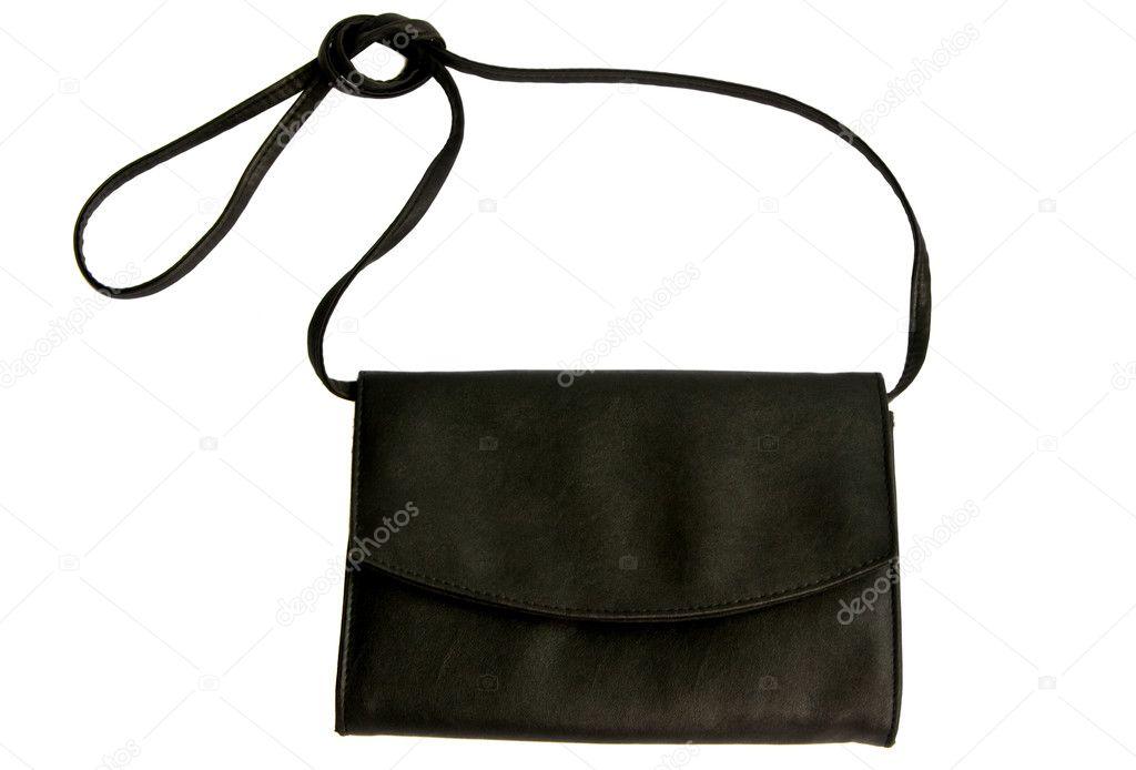 b0b26821b9 Μικρή μαύρη δερμάτινη τσάντα που απομονώνονται σε λευκό φόντο — Εικόνα από  Anita Bonita