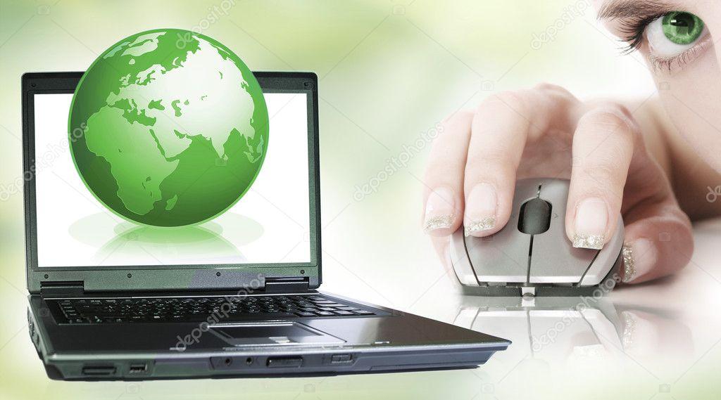 Laptop on green