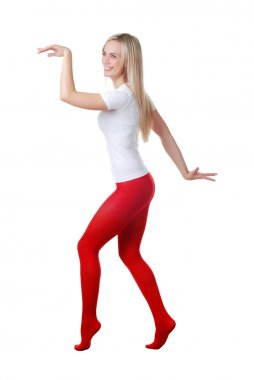 Woman in red tights