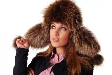 Woman in fur cap