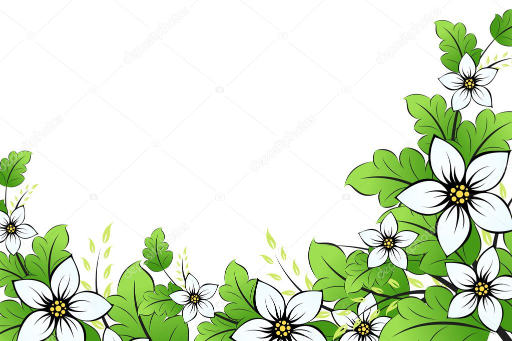 Flower background with leaves