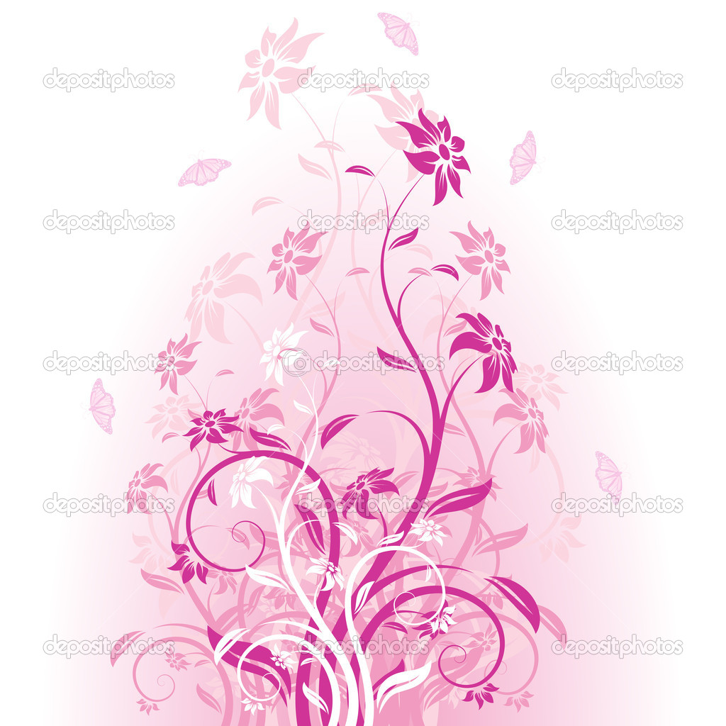 Vector flowers in pink