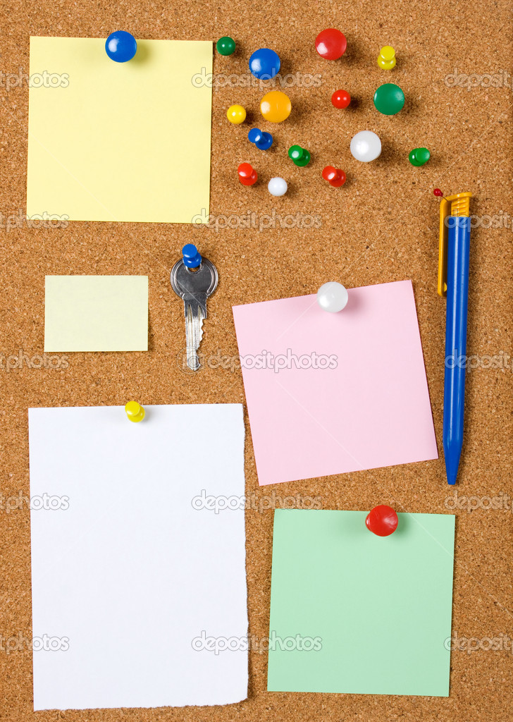 Blank Memo Notes On Cork Board U2014 Stock Photo