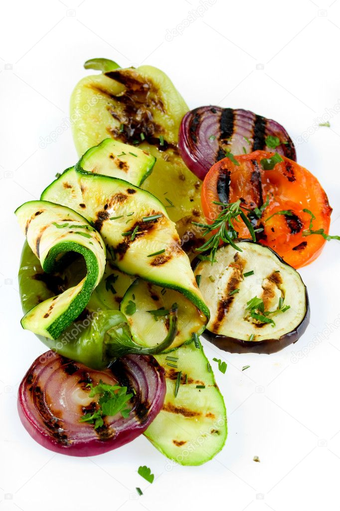 Grilled vegetable isolated on white