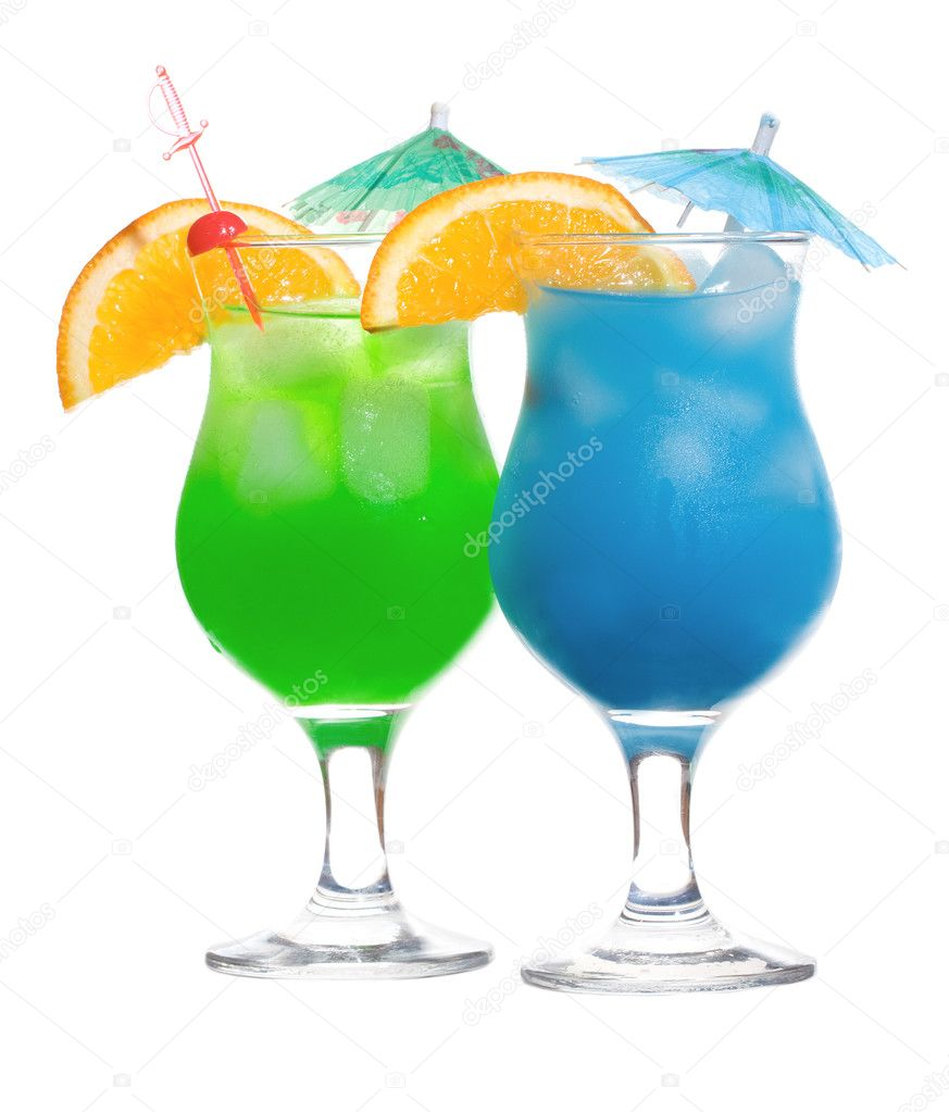 Blue curacao and green cocktails stock photo nitrub for Cocktail curacao