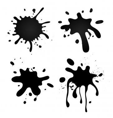 Set of grungy splashes on white stock vector