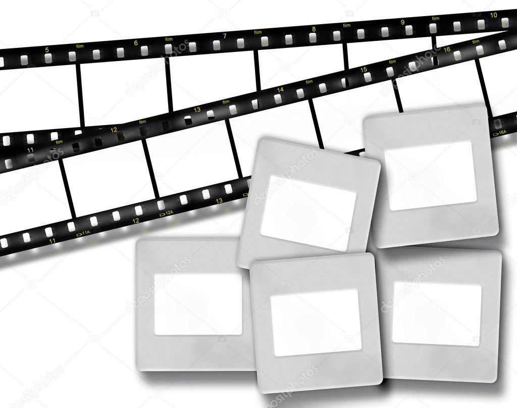 rayas de película en blanco y marcos de fotos diapositivas en blanco ...