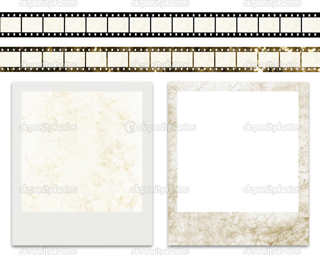 tiras de película en blanco y los marcos de foto instantánea en ...