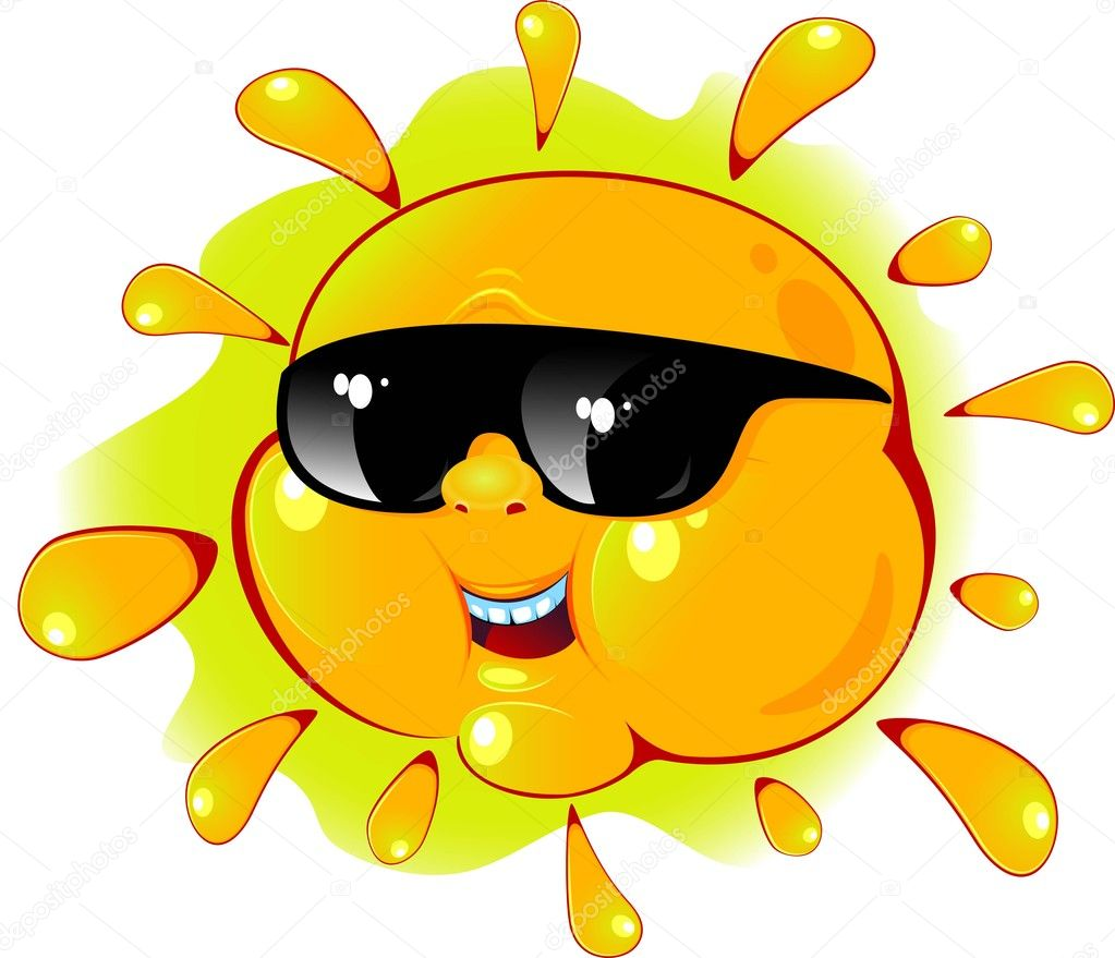 Cartoon sun in a sunglasses