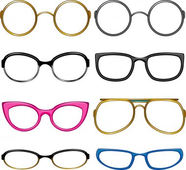 Collection glasses for every taste!. Simply dress them on the nose! EPS 8, AI, JPEG stock vector