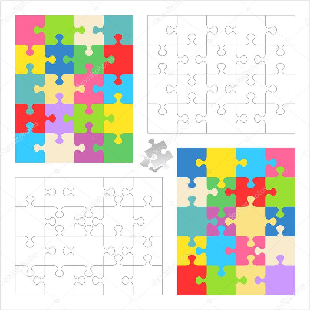 Jigsaw Puzzle leere Vorlagen und bunte Muster — Stockvektor ...