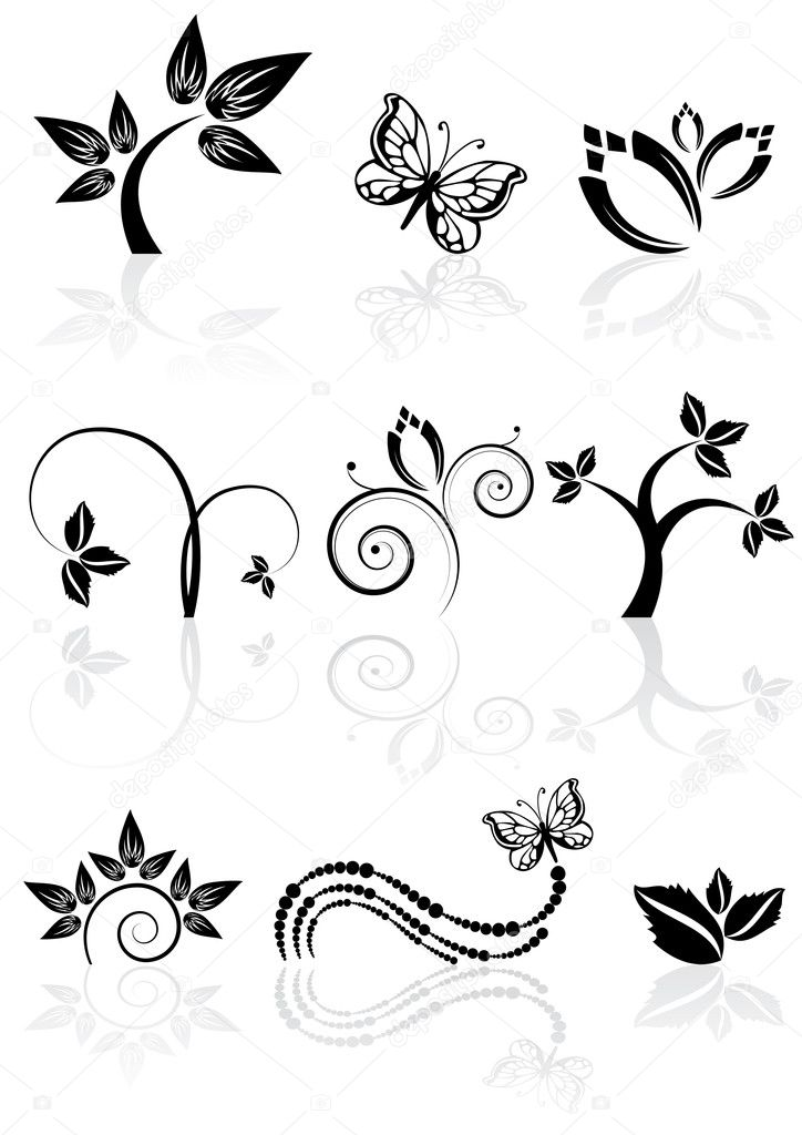 Monochrome nature icons
