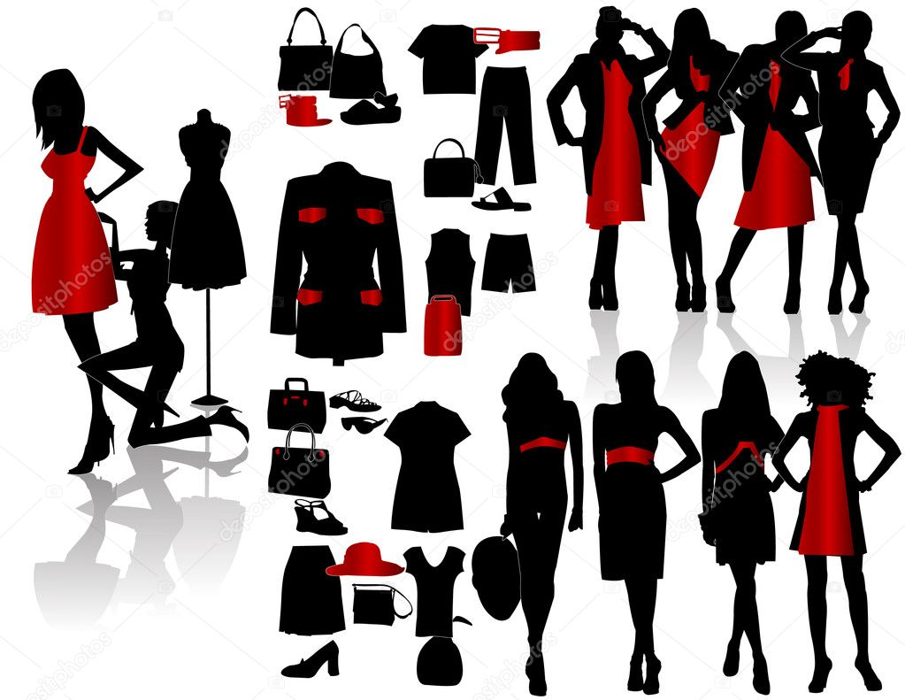 Silhouettes fashion girl with sempstress