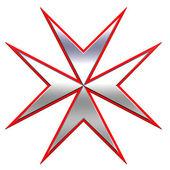 rot mit silbernem Malteserkreuz