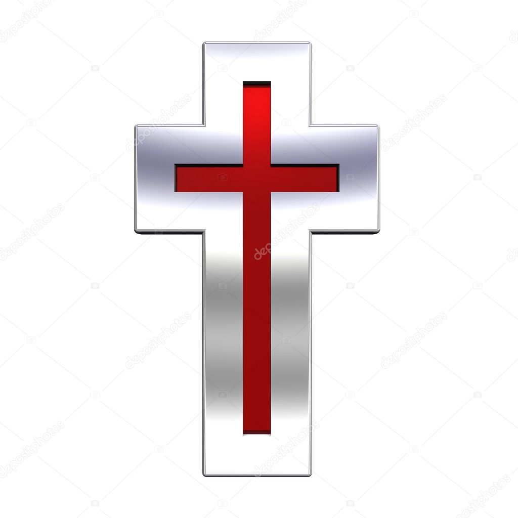 rojo con la cruz cristiana marco de plata — Fotos de Stock © ppart1 ...